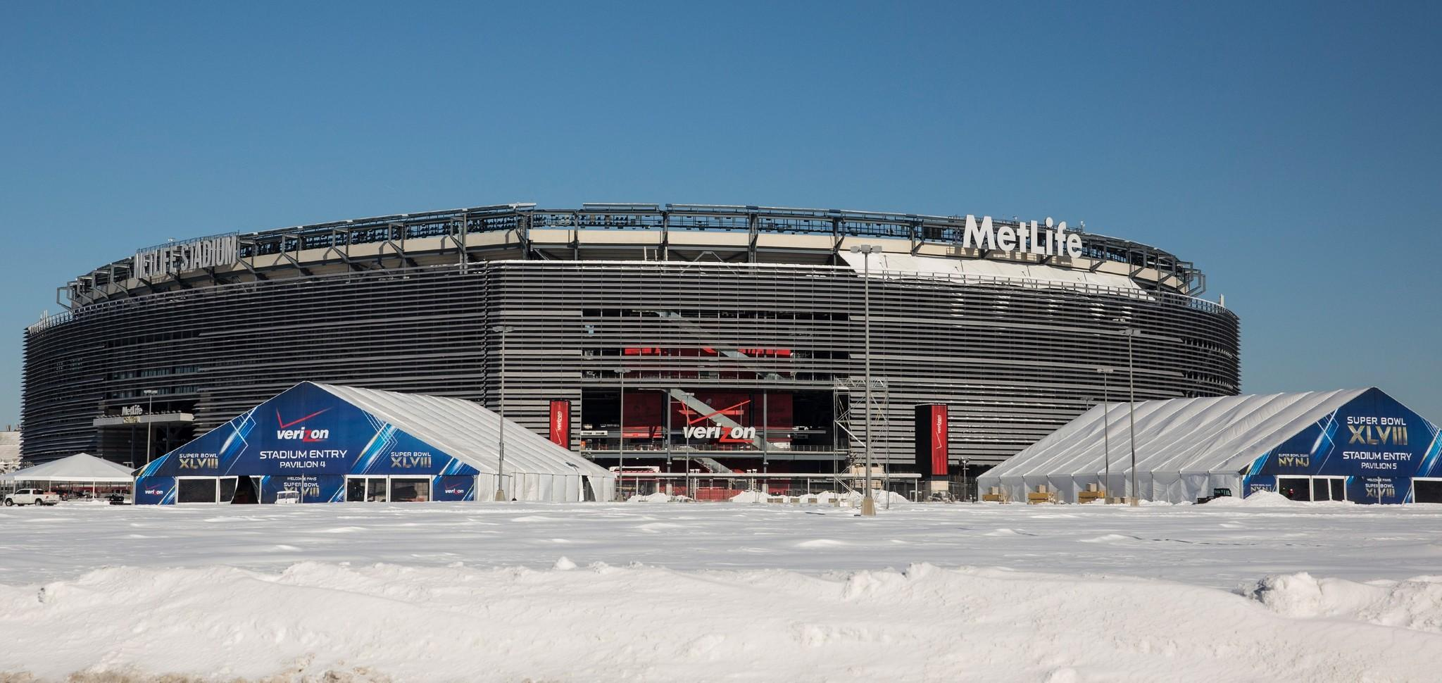 Snow surrounds MetLife Stadium, which will host Superbowl XLVIII next week.