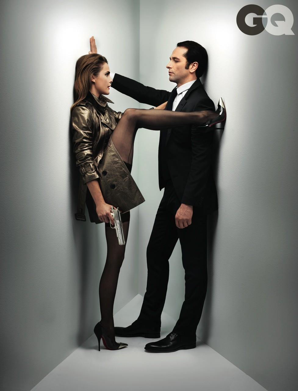 """The Americans"" stars Keri Russell and Matthew Rhys pose in the February issue of GQ."