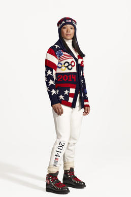 Ice hockey player Julie Chu models the U.S. Olympic team uniforms for the opening ceremony.