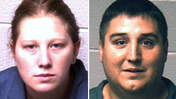 Jeremy A. Carhart (right) has admitted to committing more than a dozen burglaries in the Slate Belt with his wife, Felicia M. Carhart, 28 (left).