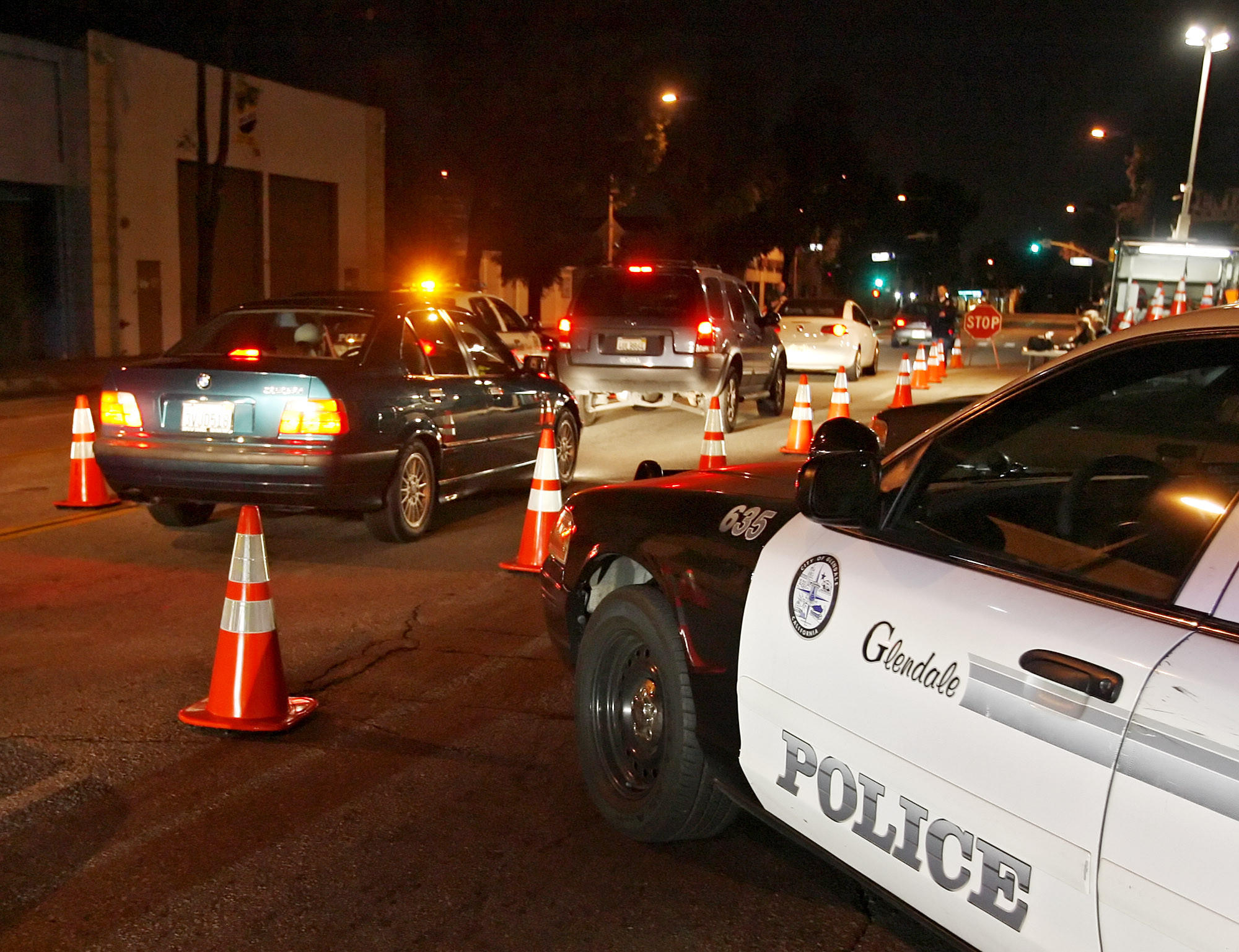 File Photo: Glendale Police set up a DUI checkpoint on San Fernando Road at Palmer Avenue in Glendale, photographed in 2010. A DUI checkpoint is scheduled to happen on Friday, Jan. 24, 2014.
