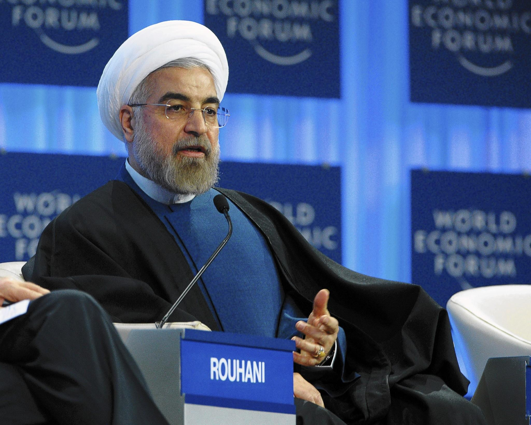 Iranian President Hassan Rouhani addresses the World Economic Forum in Davos on Thursday. Some 40 world leaders gather in the Swiss ski resort Davos to discuss and debate a wide range of issues including the causes of conflicts plaguing the Middle East, and how to reinvigorate the global economy.
