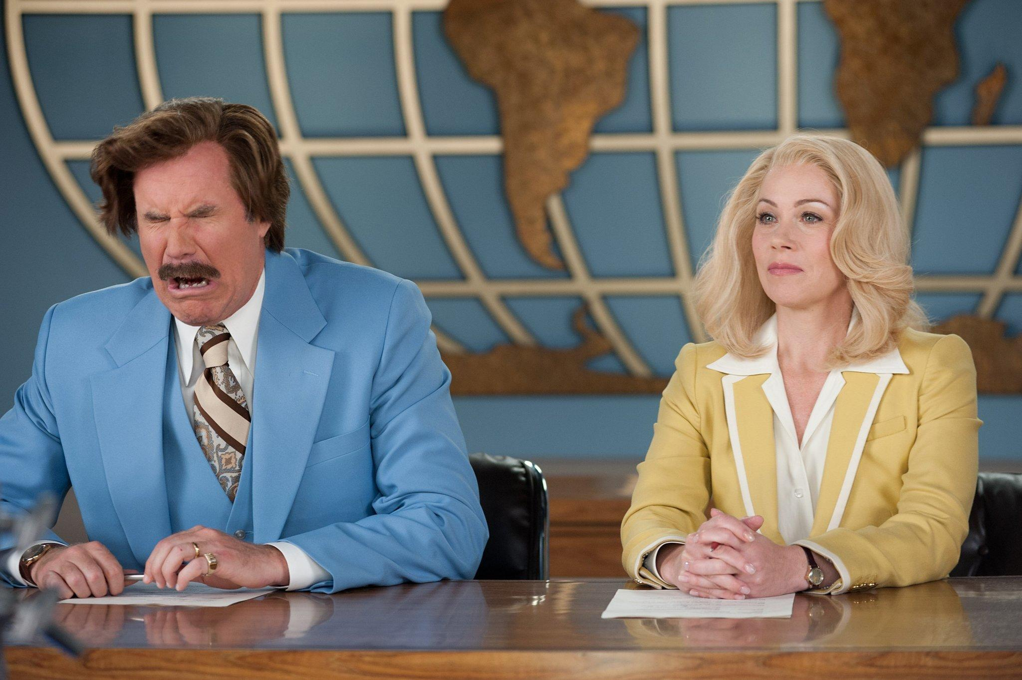 "Will Ferrell and Christina Applegate star in ""Anchorman 2: The Legend Continues."""