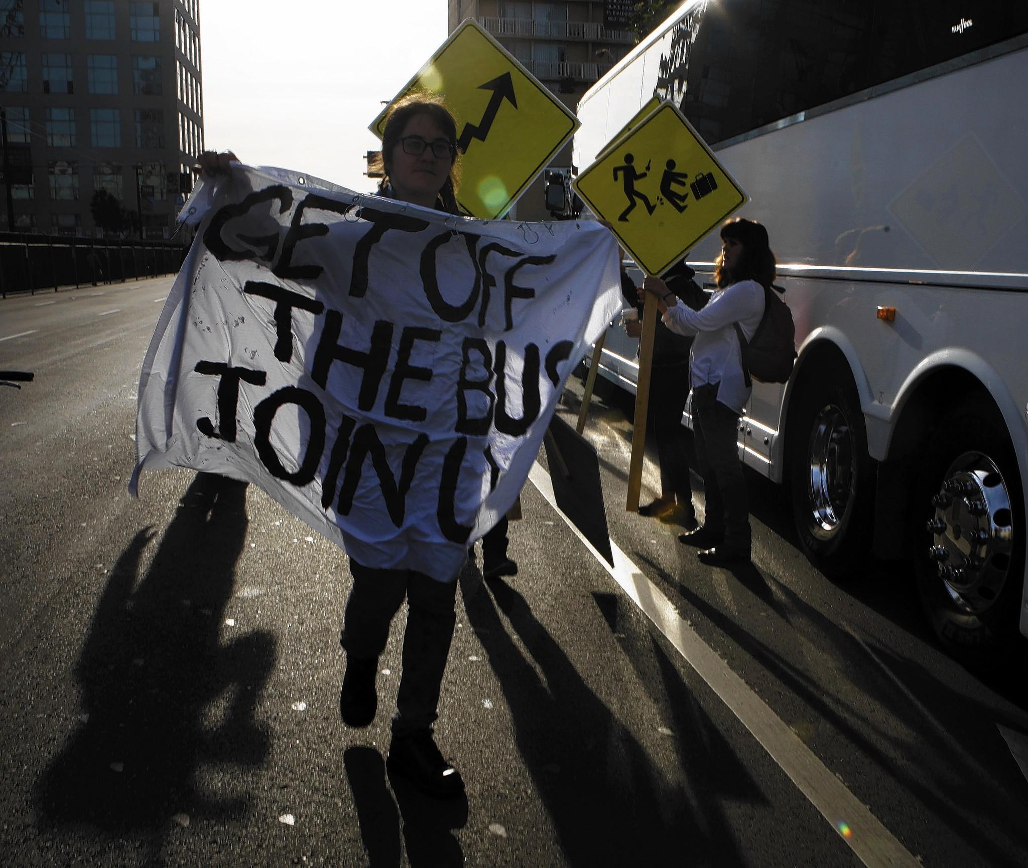 Protesters in San Francisco block a Facebook bus heading to Menlo Park.