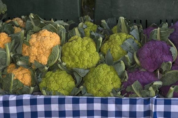 Orange, green and purple cauliflower grown by Underwood Family Farms of Moorpark and Somis at the Glendale farmers market.