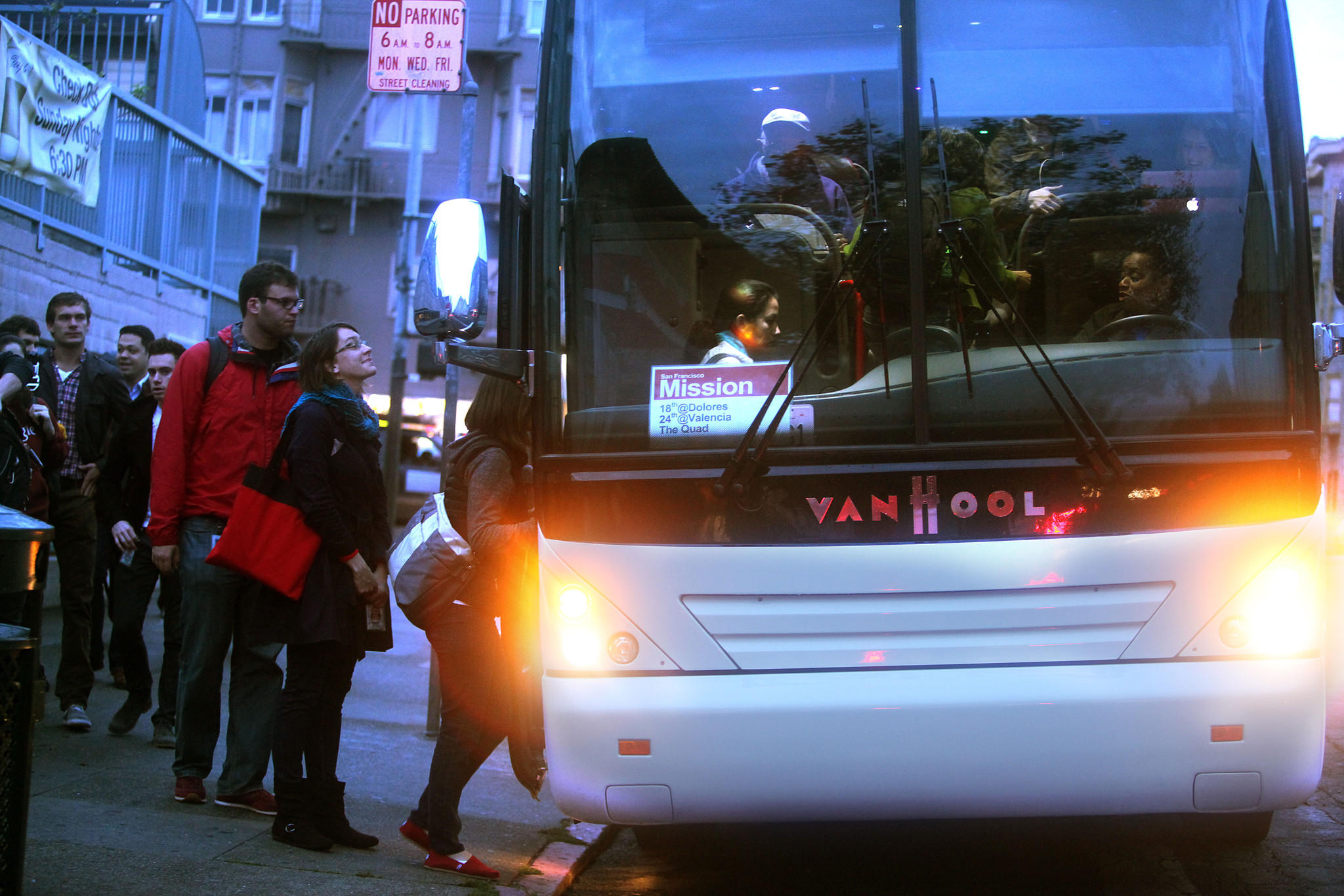 A shuttle to the Google campus loading passengers in San Francisco during a morning commute in 2012.