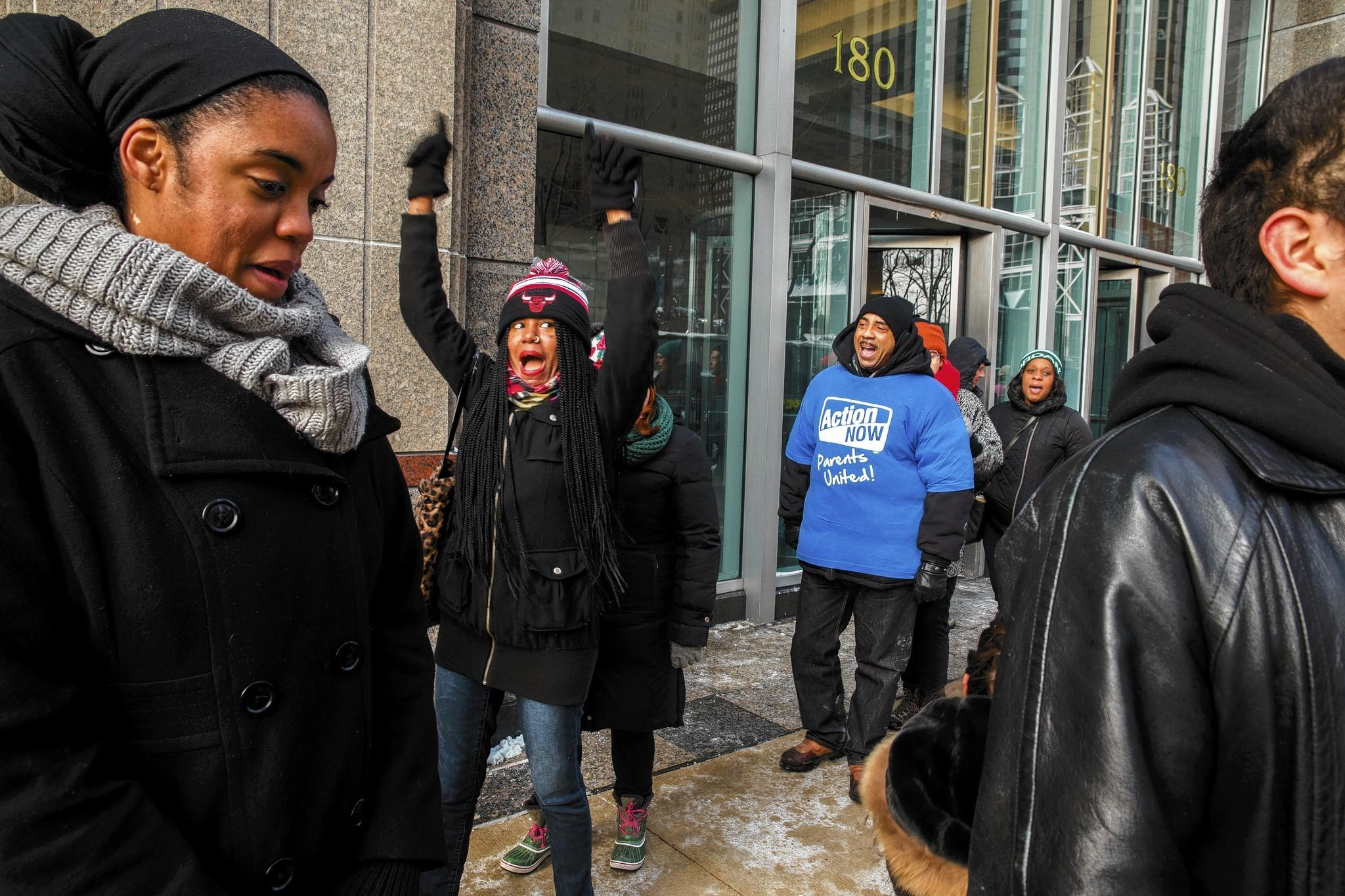 Former Snarf's Sandwiches employees protest this month in Chicago after more than one dozen of them were laid off via email two days before Christmas.