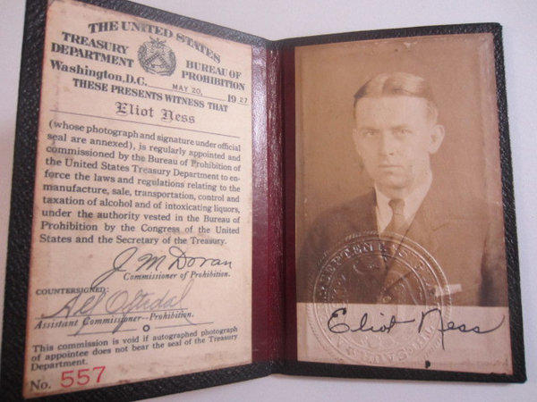 Eliot Ness' license to enforce the laws and regulations relating to the manufacture, sale, transportation, control and taxation of alcohol was one of many items up for auction.