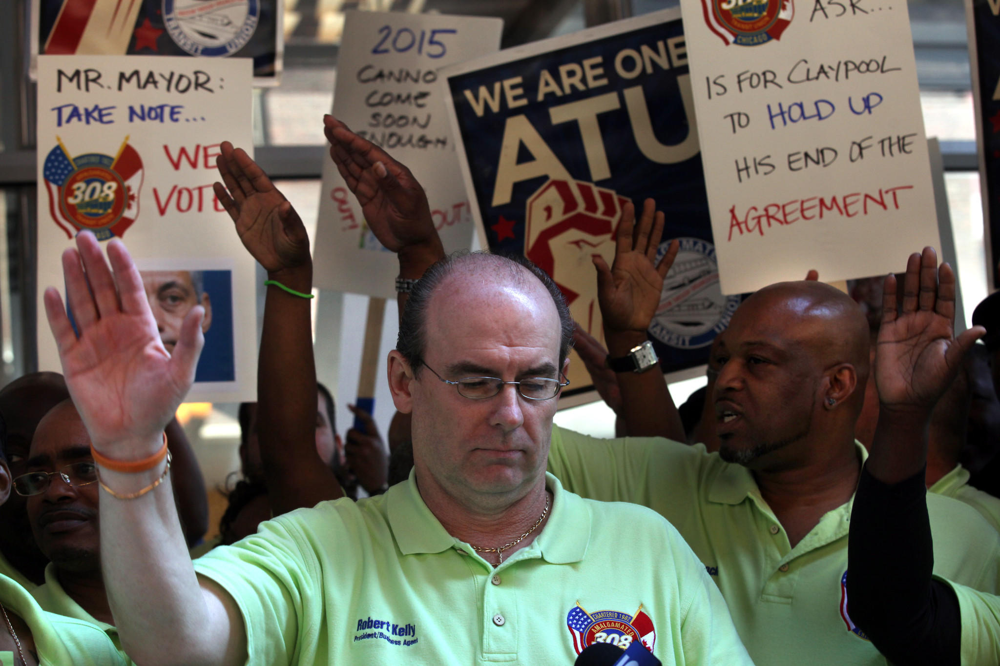 June 2013: Robert Kelly, President Amalgamated Transit Union Local 308, speaks to CTA union members of Local 308 and their supporters who were protesting outside CTA headquarters.