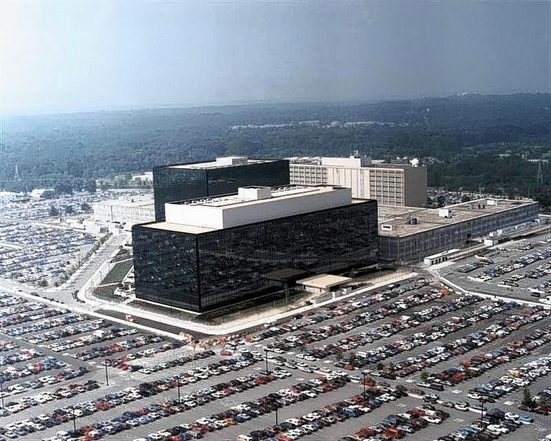An undated aerial handout photo shows the National Security Agency (NSA) headquarters building in Fort Meade, Maryland