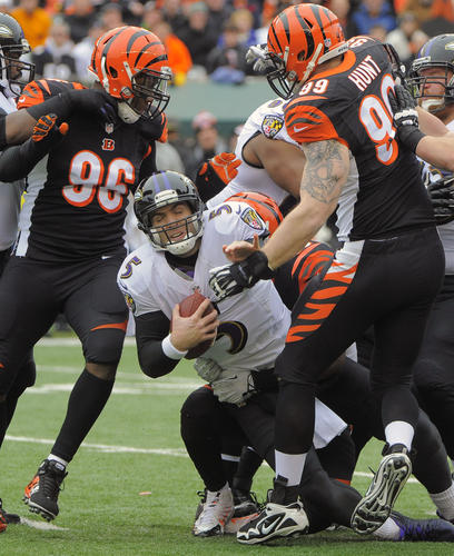 Joe Flacco finished the game with a quarterback rating of 49.8. He completed 30 of 50 passes for 192 yards, but he also threw three interceptions. His longest pass was 14 yards, and the Bengals did a nice job of taking away the long ball. Flacco took a beating, which is the only reason he doesn't get a failing grade. <b>Grade: D</b>