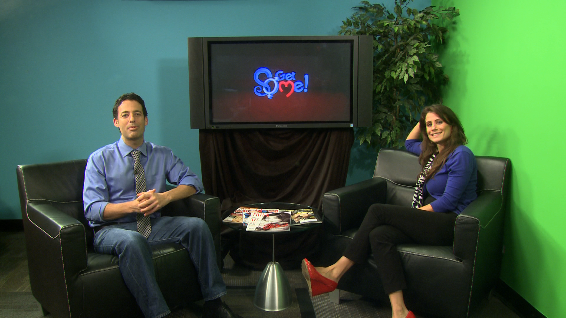 "Dave Aizer with Dr. Lisa Paz on the set of their new sex and relationship talk show ""Get Some!"" which airs 5:30 a.m. Fridays and 1:30 a.m. Saturdays on WSFL-TV Ch. 39."