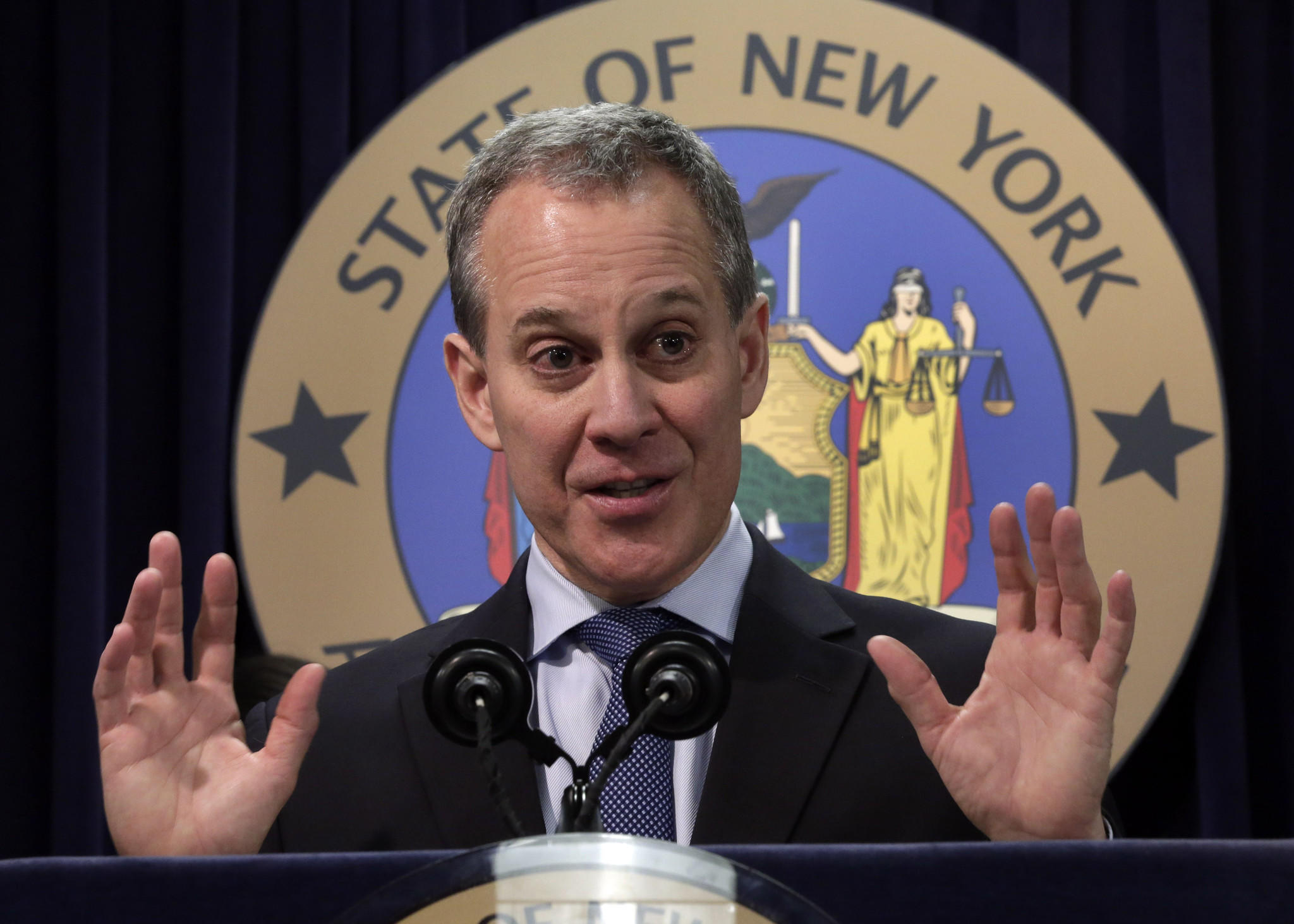 New York Atty. Gen. Eric Schneiderman speaks at a news conference in New York City.