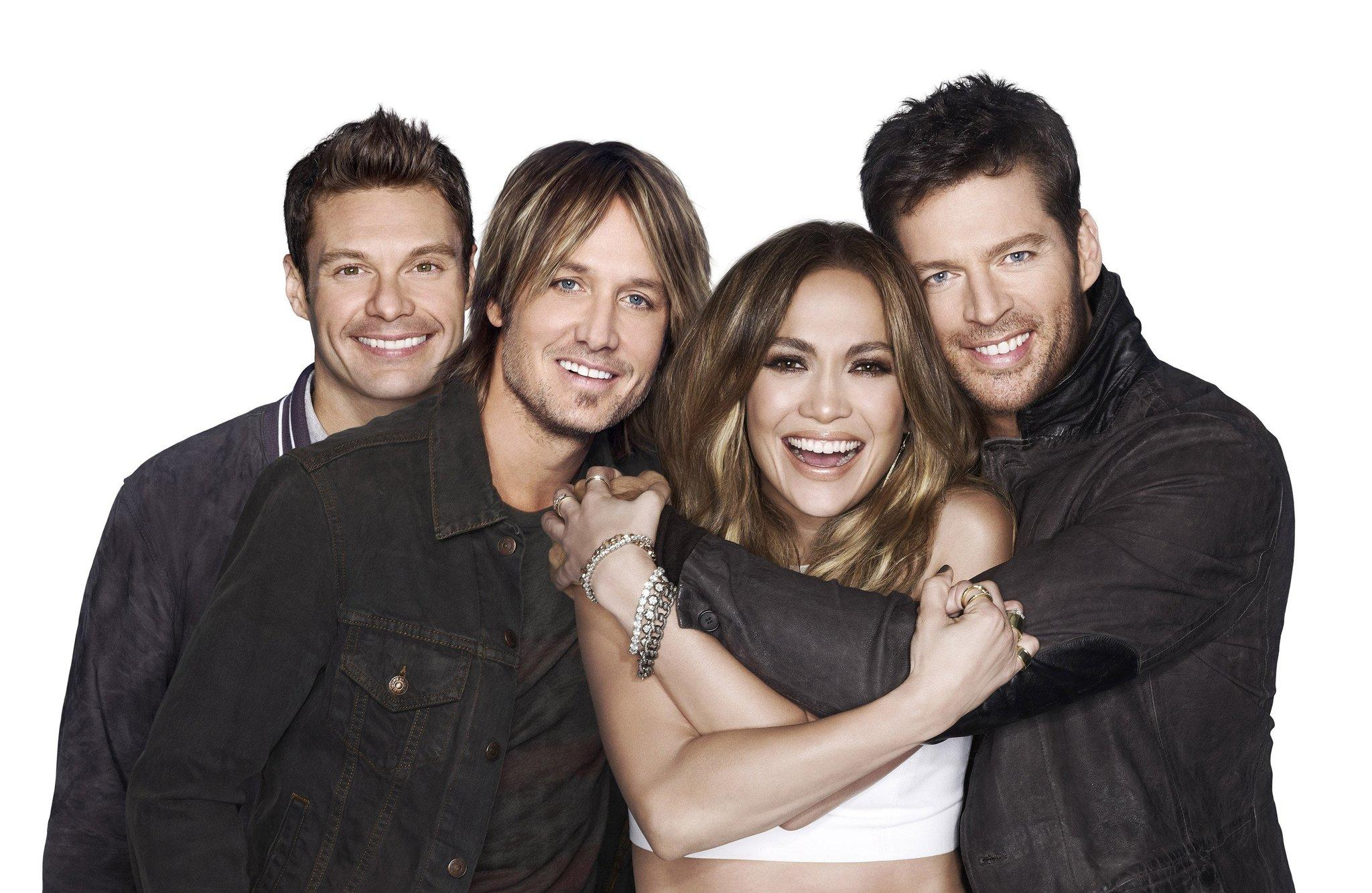American Idol XIII stars, from left, host Ryan Seacrest, and judges Keith Urban, Jennifer Lopez and Harry Connick, Jr. The show returned with a two-night, four-hour premiere Wednesday, Jan. 15, 2014, and Thursday, Jan. 16. (Michael Becker/FOX Broadcasting Co./MCT)