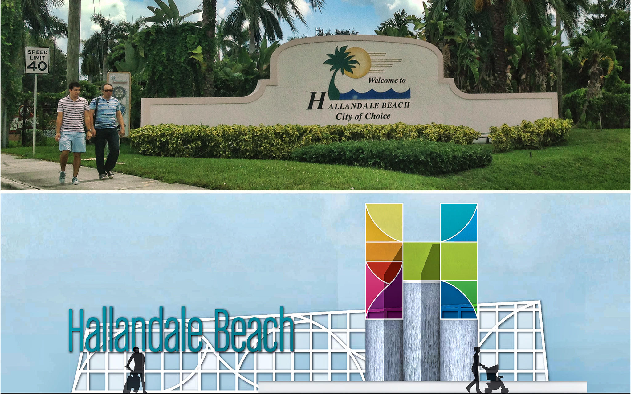 The concrete sign, at top, welcoming people to Hallandale Beach will eventually be replaced with a new sign, below, that will cost taxpayers an estimated $500,000.