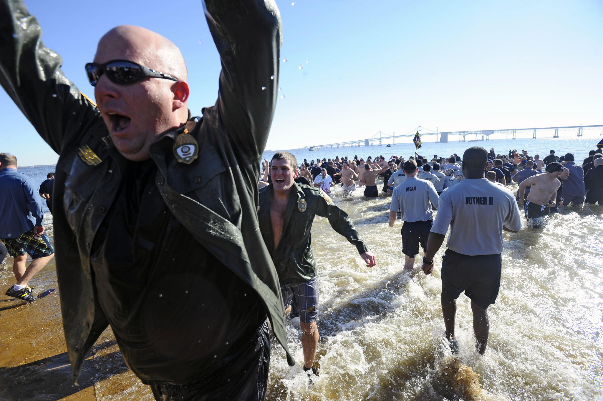 The Super Plunge event beginning on Friday kicks off the Polar Bear Plunge weekend, and includes plunges for law enforcement and corporate participants. (Because of frigid conditions, the plunge was canceled on Saturday morning.)