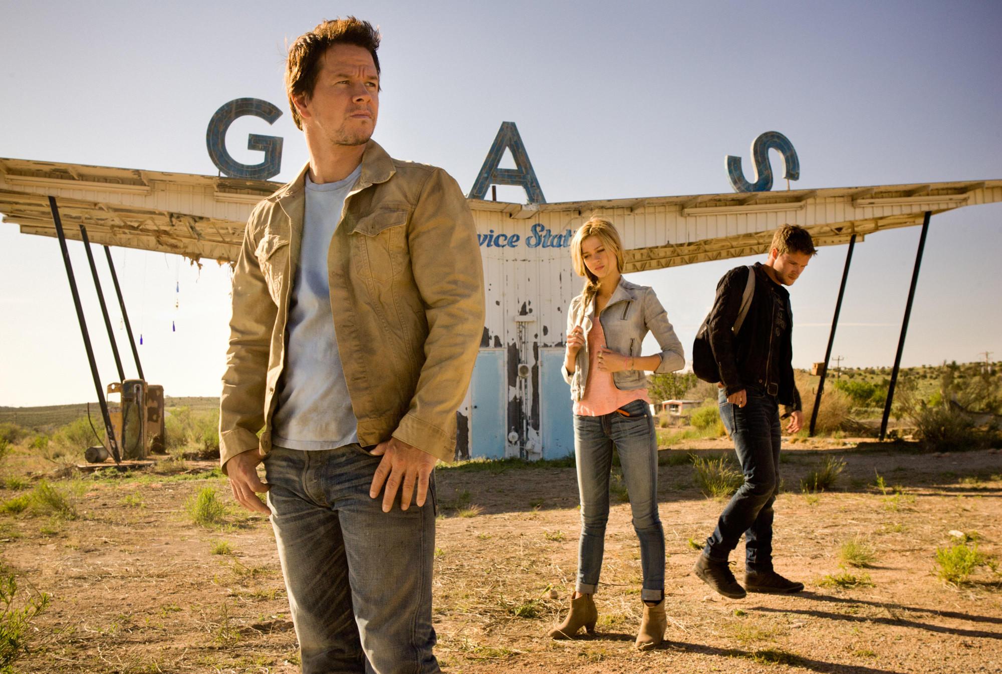 "Mark Wahlberg, Nicola Peltz and Jack Reynor in ""Transformers: Age of Extinction."""
