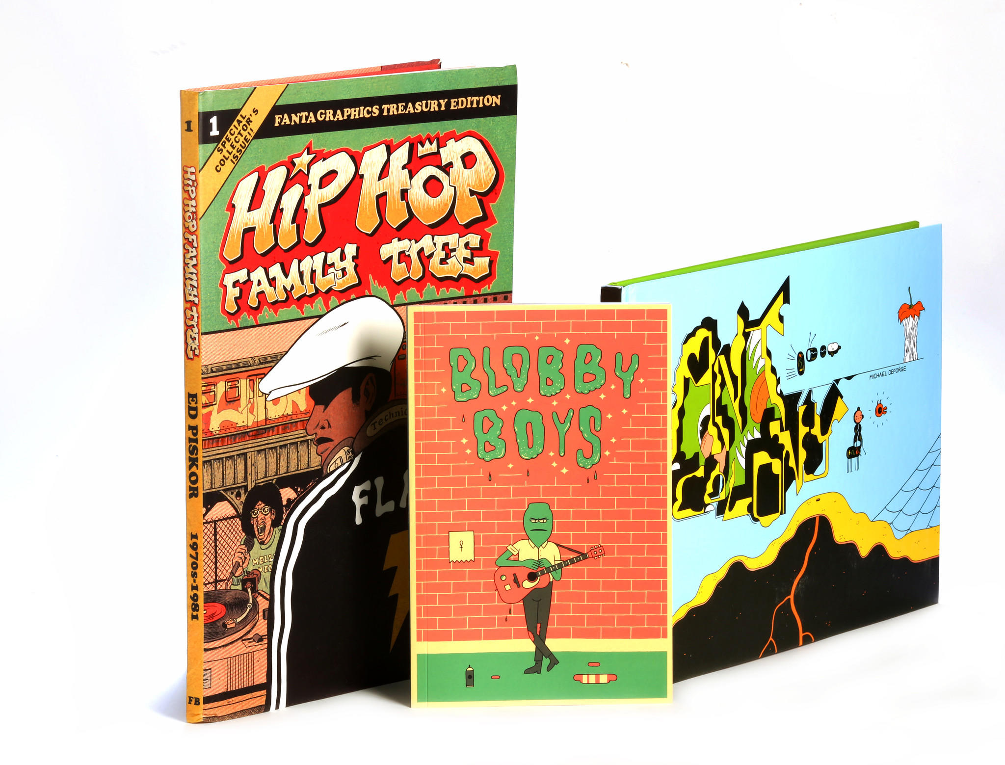 """Hip Hop Family Tree"" by Ed Piskor, ""Blobby Boys"" by Alex Schubert and ""Ant Colony"" by Michael DeForge"