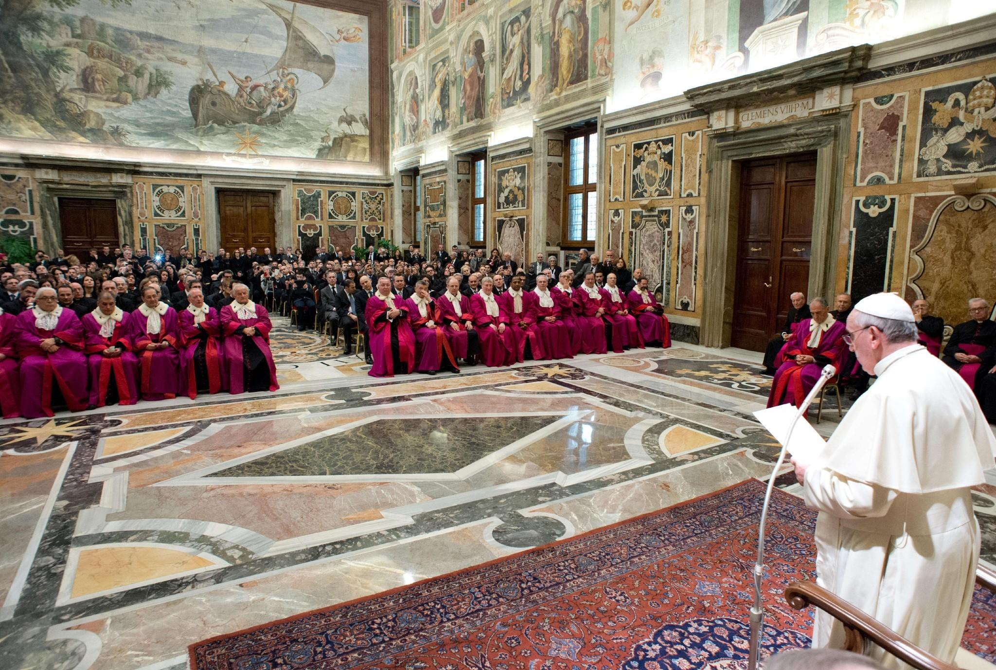 This picture released by the Vatican press office shows Pope Francis speaking to officials of the tribunal of the Roman Rota at Vatican.