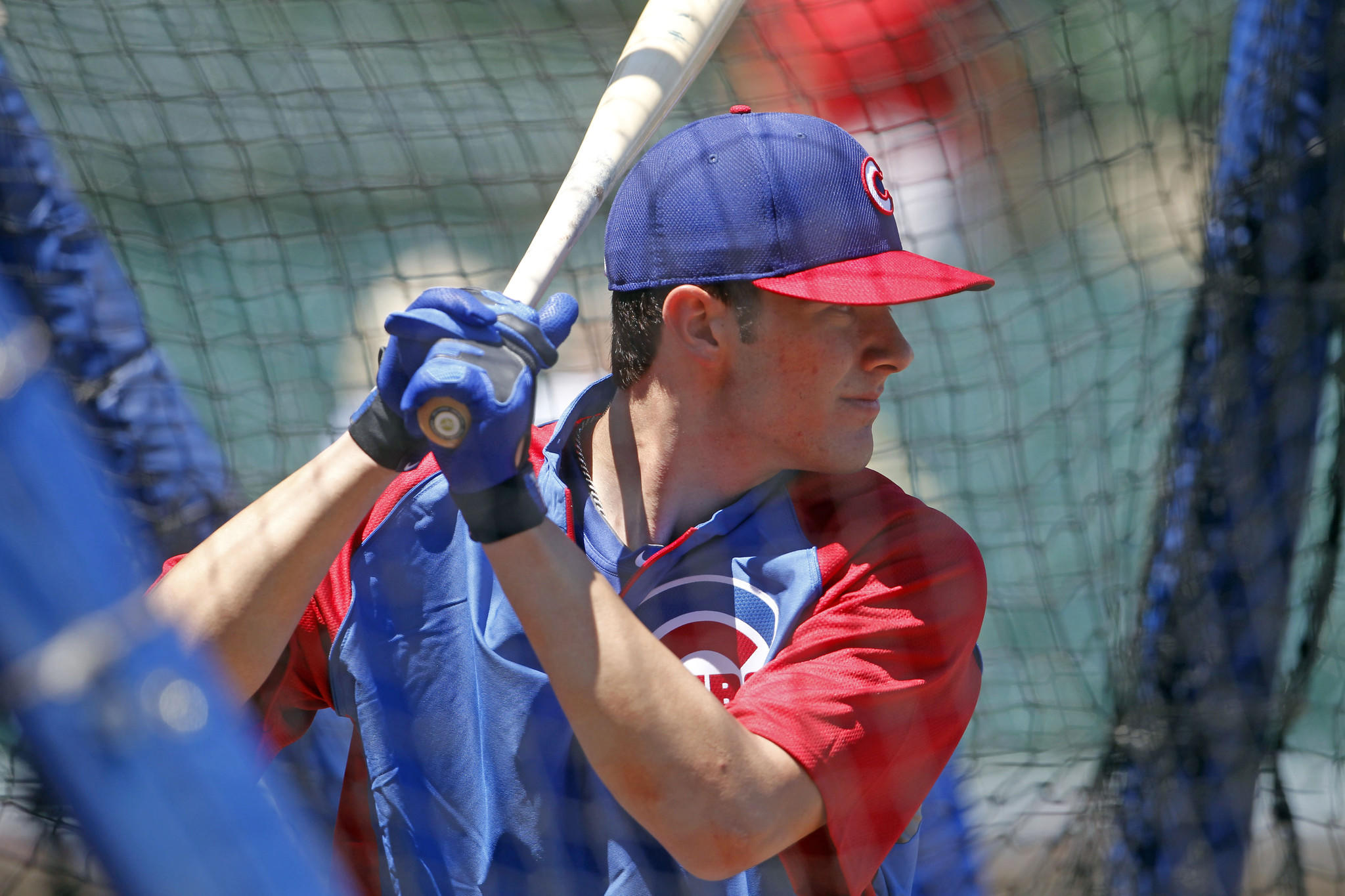 Kris Bryant takes batting practice before a game at Wrigley Field on July 12.