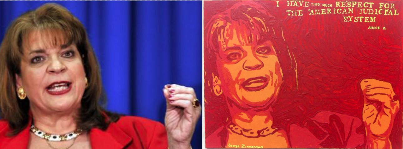 Photographer Rick Wilson says his photo of Angela Corey for the Associated Press (left) was the basis for George Zimmerman's latest painting.