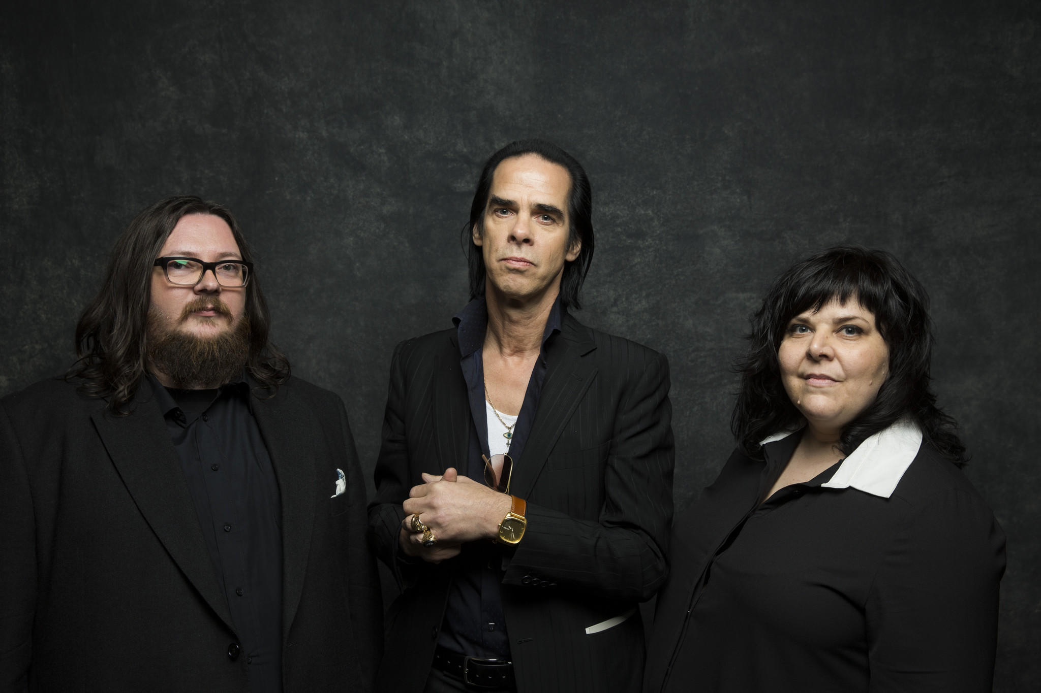 "Director Iain Forsyth, left, musician Nick Cave and director Jane Pollard are at Sundance with their maybe-documentary ""20,000 Days on Earth,"" about Cave during the time of the recording of his latest album, ""Push the Sky Away."""