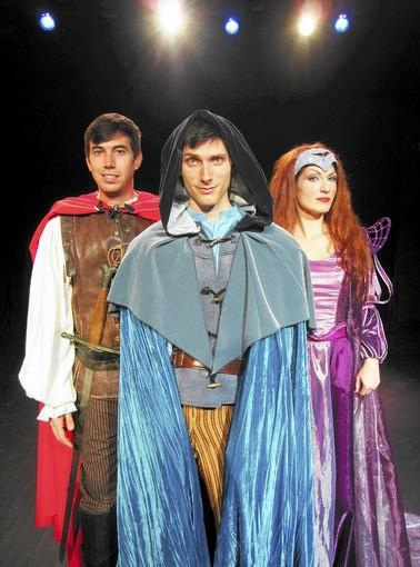 "Erik Nelson (center) stars in ""The Magical Adventures of Merlin"" with Spencer Morrow as Arthur and Kelly Kilgore as Morgana."