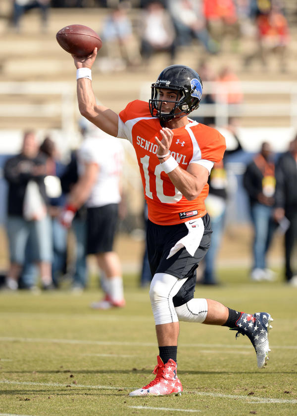 He wasn't the top rated quarterback at the Senior Bowl (Fresno State's Derek Carr was), and didn't throw the prettiest passes (San Jose State's David Fales did), but the consistency he showed was encouraging. His personality also commands your attention and hints that he could be an NFL starter for a team willing to be patient.