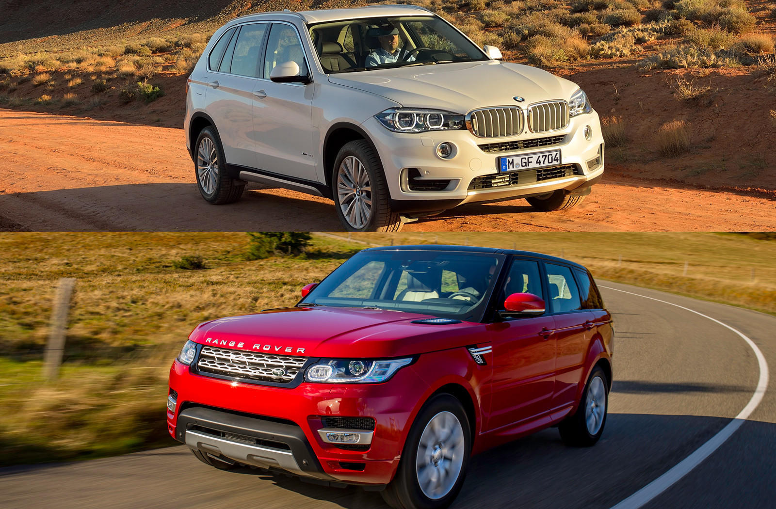 Bmws 2014 x5 xdrive35i top and land rovers range rover sport hse are the 2014 bmw x5 vs