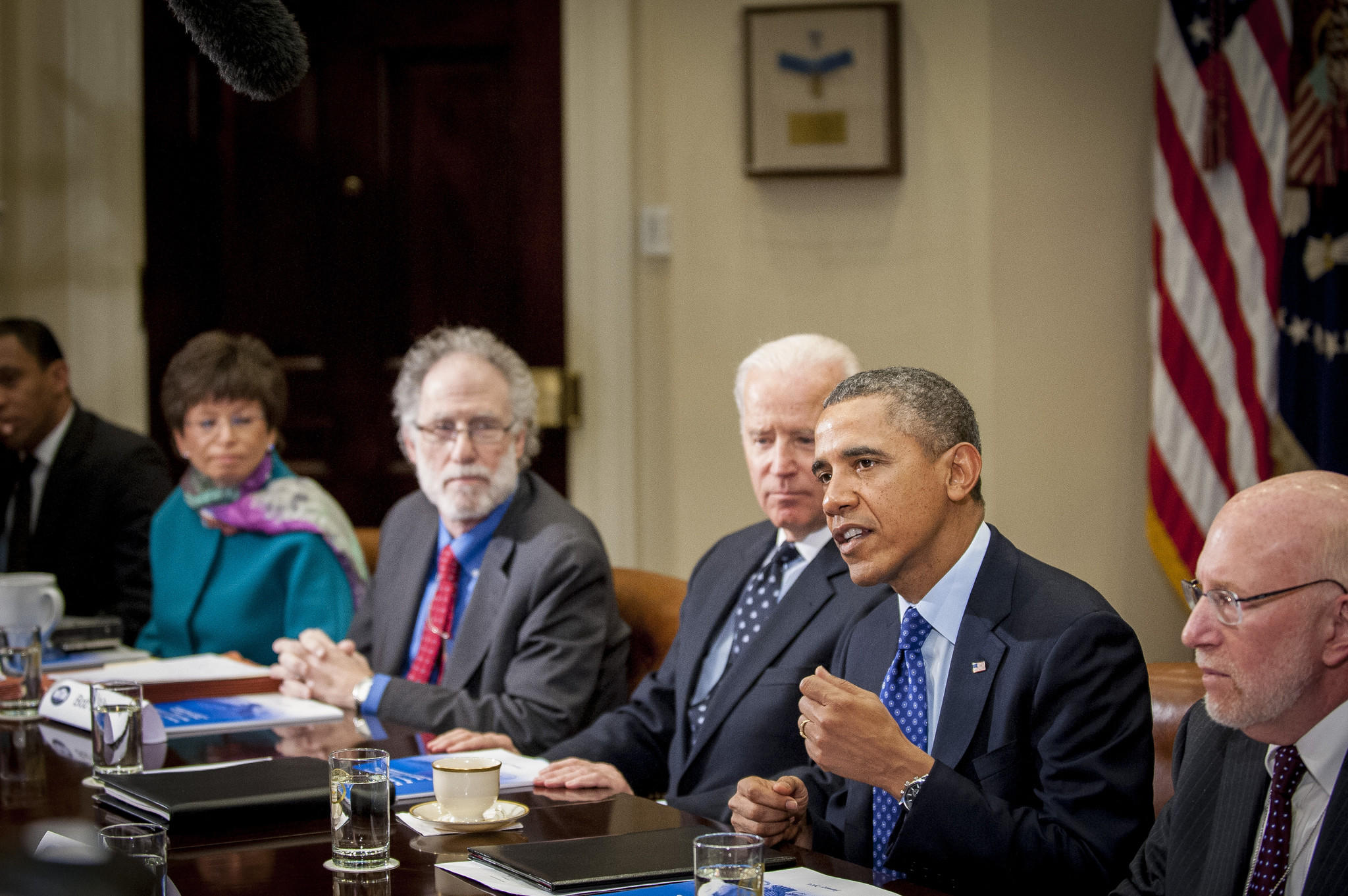 President Barack Obama and the Vice President Joe Biden meet with members of the Presidential Commission on Election Administration at the White House.