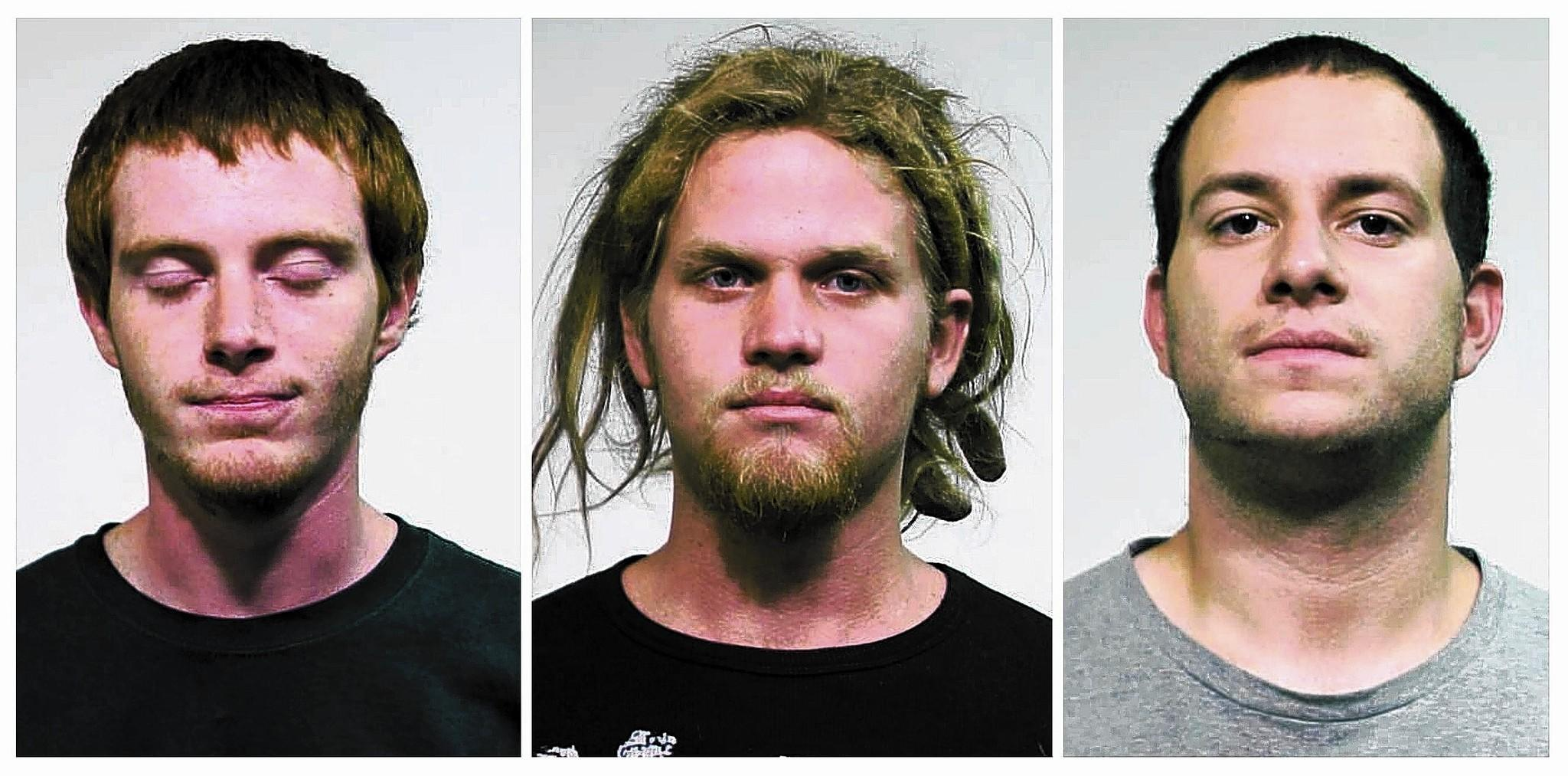 Defense attorneys don't dispute that their clients Brian Church, from left, Brent Betterly and Jared Chase, dubbed the NATO 3, possessed incendiary devices. But they told jurors that their clients never should have faced terrorism charges, calling it a political move by authorities desperate to justify millions of dollars spent on security for the summit.