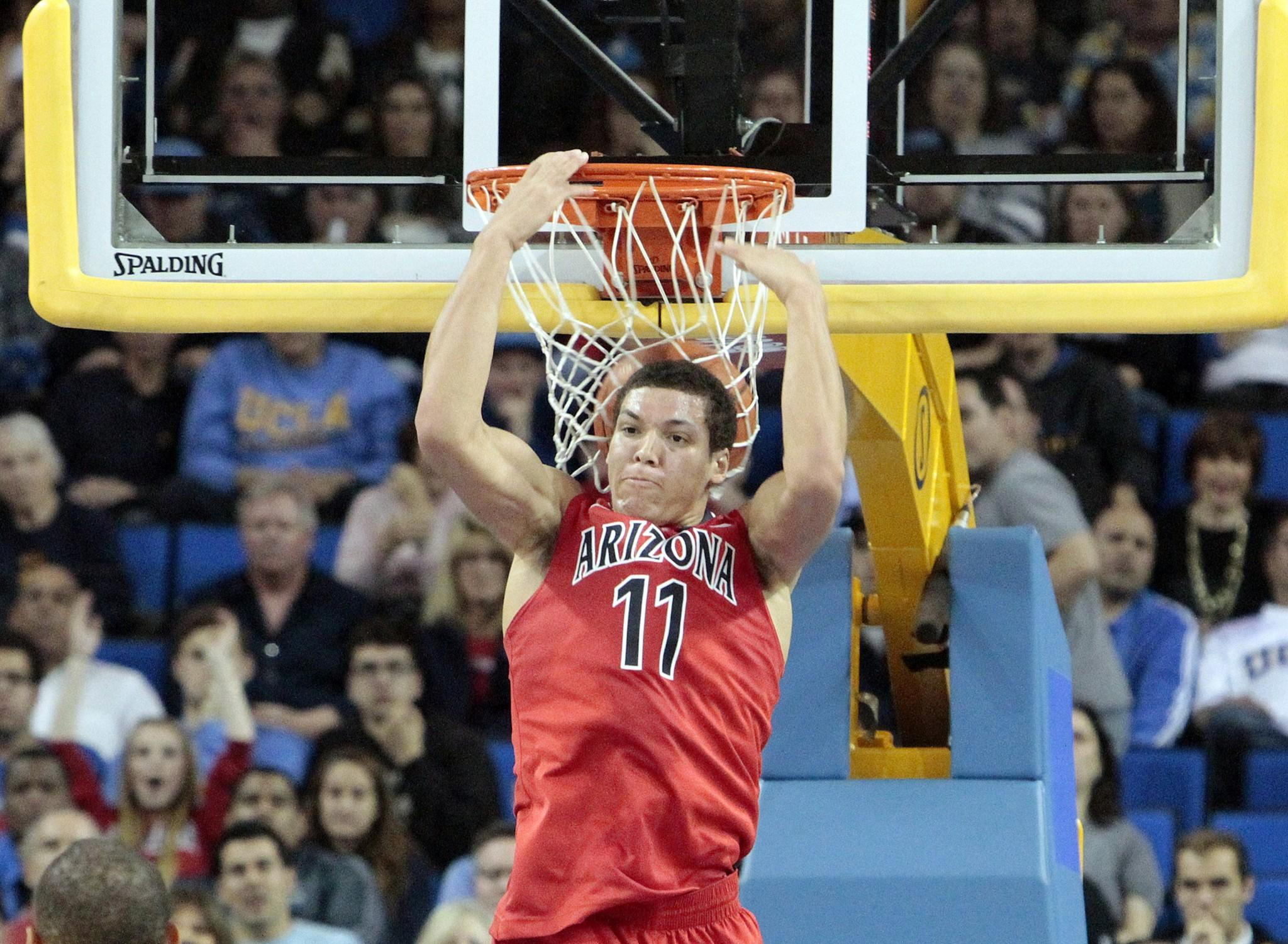 Arizona forward Aaron Gordon throws down a reverse dunk against UCLA on Jan. 9.