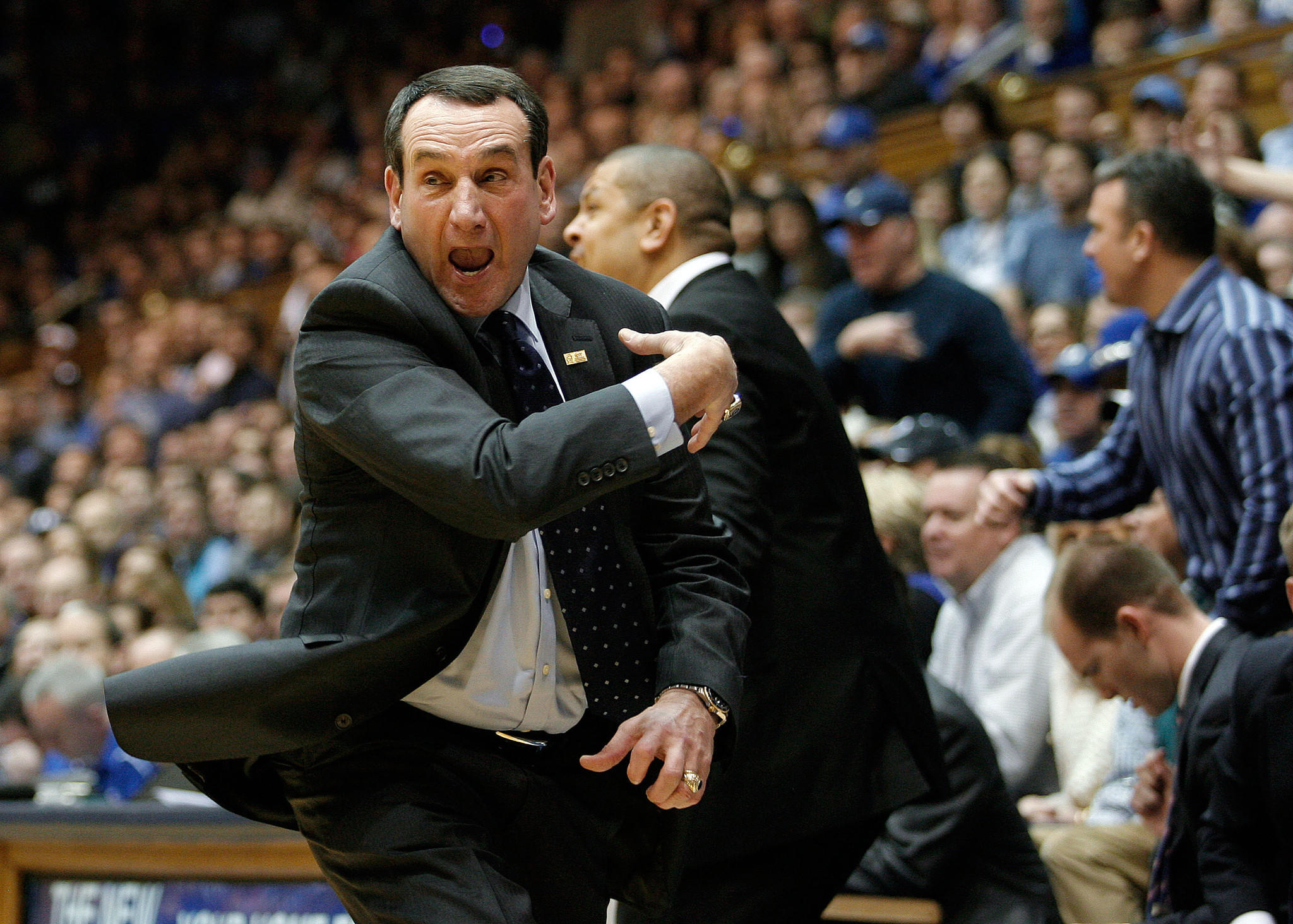 Duke coach Mike Krzyzewski reacts to a call by the officials in their game against the Florida State Seminoles.