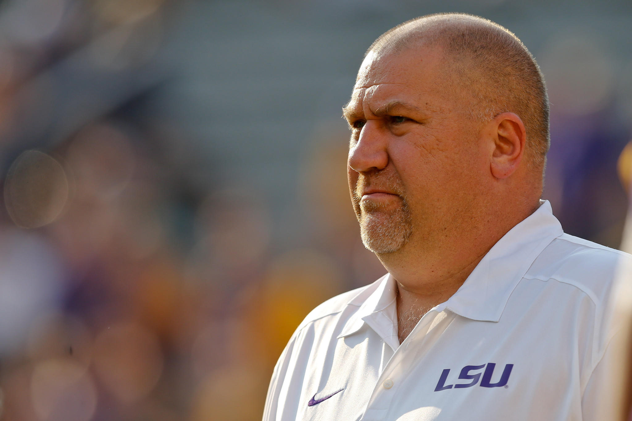 Greg Studrawa looks on before an LSU game against Kent State last September.