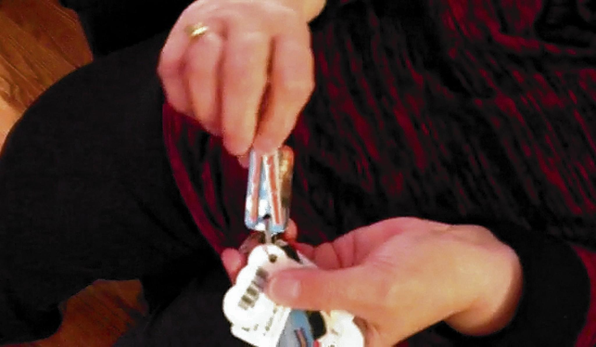 Virginia Fahr of Walnutport puts all of her shopping rewards cards on a separate key ring so she always has them handy and her keys don't get lost in the clutter.