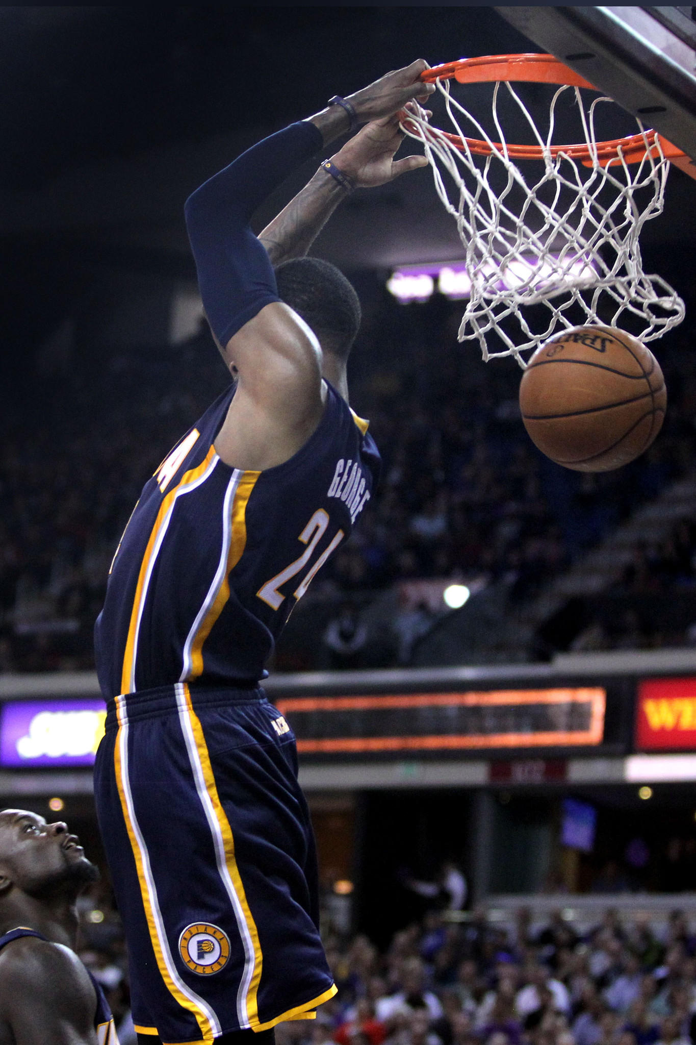 Indiana Pacers forward Paul George (24) dunks the ball against the Sacramento Kings in the second half of their NBA basketball game at Sleep Train Arena.