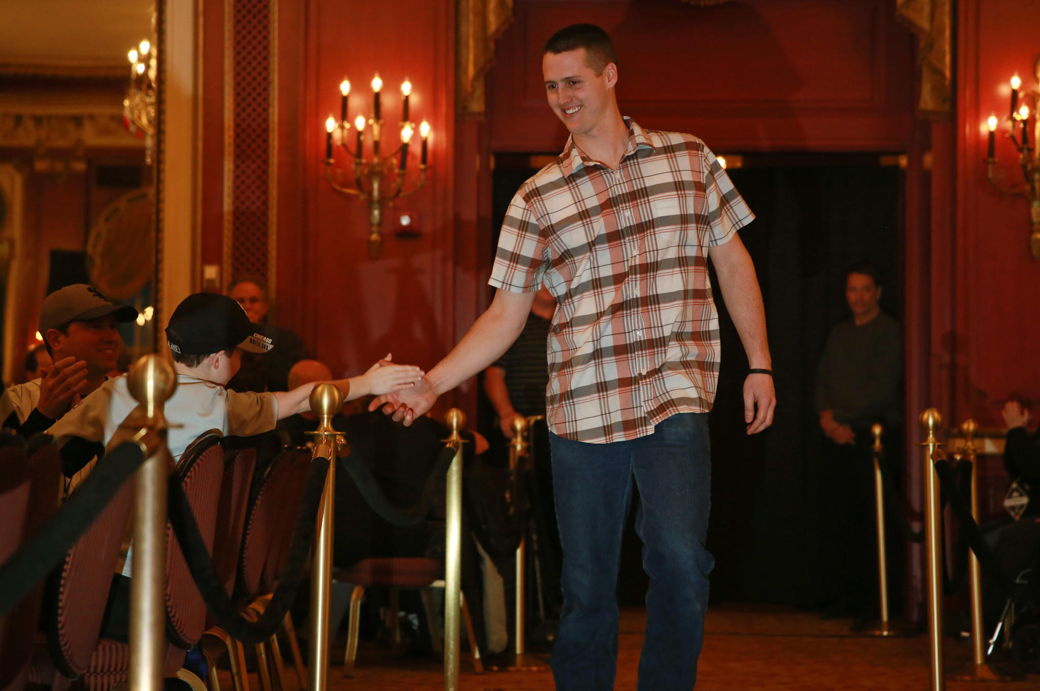 Nate Jones is introduced at the opening ceremony during Sox Fest at the Palmer House Hilton Friday, Jan. 24, 2014, in Chicago.