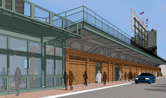 A drawing shows the Cubs' plan to push back Wrigley field's right-field wall and narrow Sheffield Avenue.