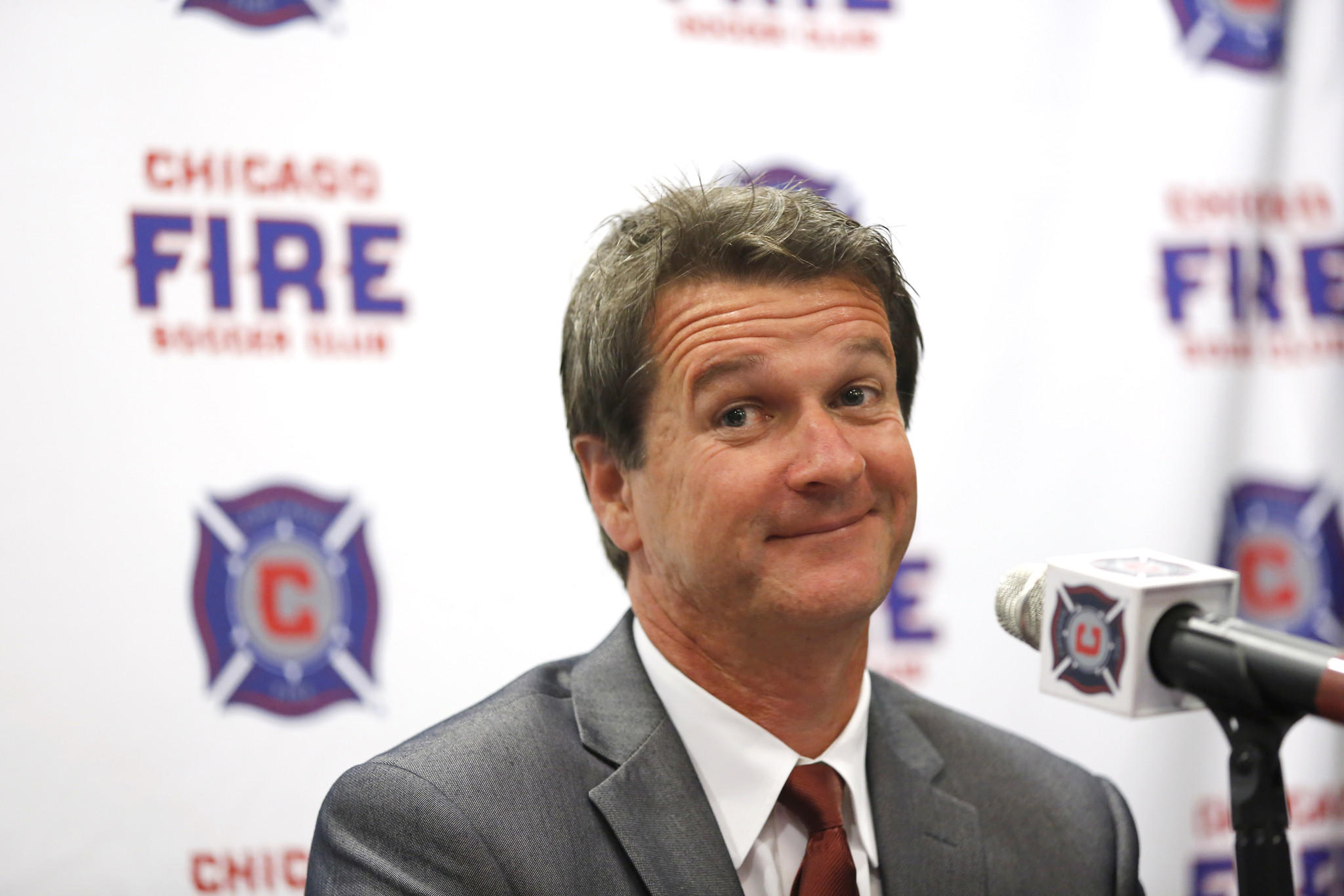 Frank Yallop was named the Chicago Fire Soccer Club's new head coach and director of soccer at a press conference, Thursday, Oct. 31, 2013 in Chicago.