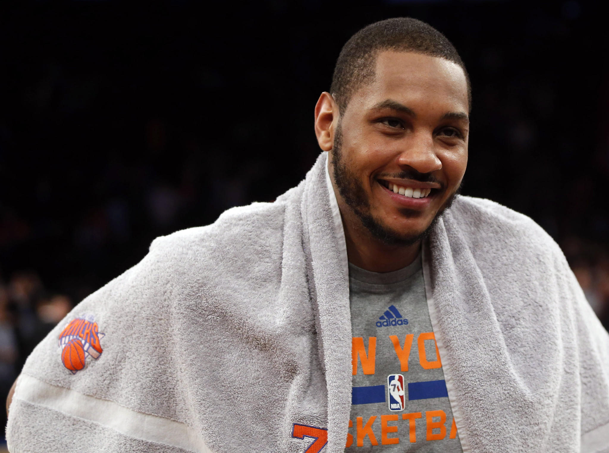 New York Knicks small forward Carmelo Anthony (7) smiles at the end of the game against the Charlotte Bobcats at Madison Square Garden. the Knicks won 125-96.