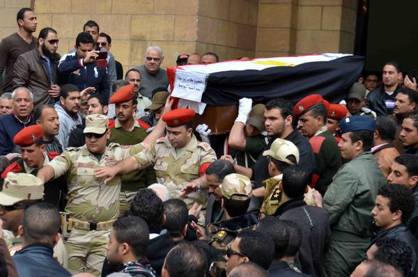 Funeral of Egyptian officers killed in army helicopter crash