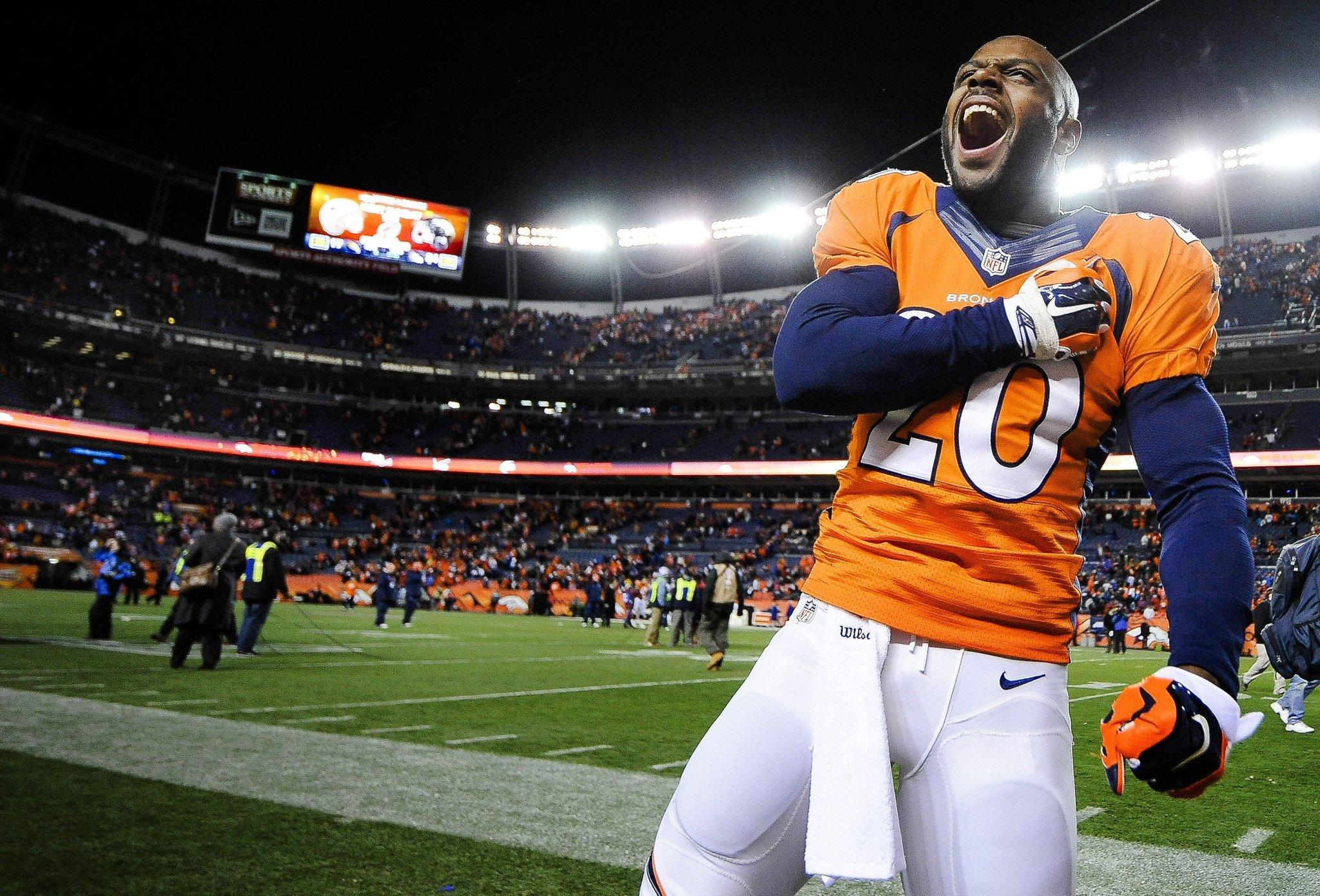 Denver Broncos safety Mike Adams celebrates after beating the San Diego Chargers 24-17 in the AFC divisional playoffs.