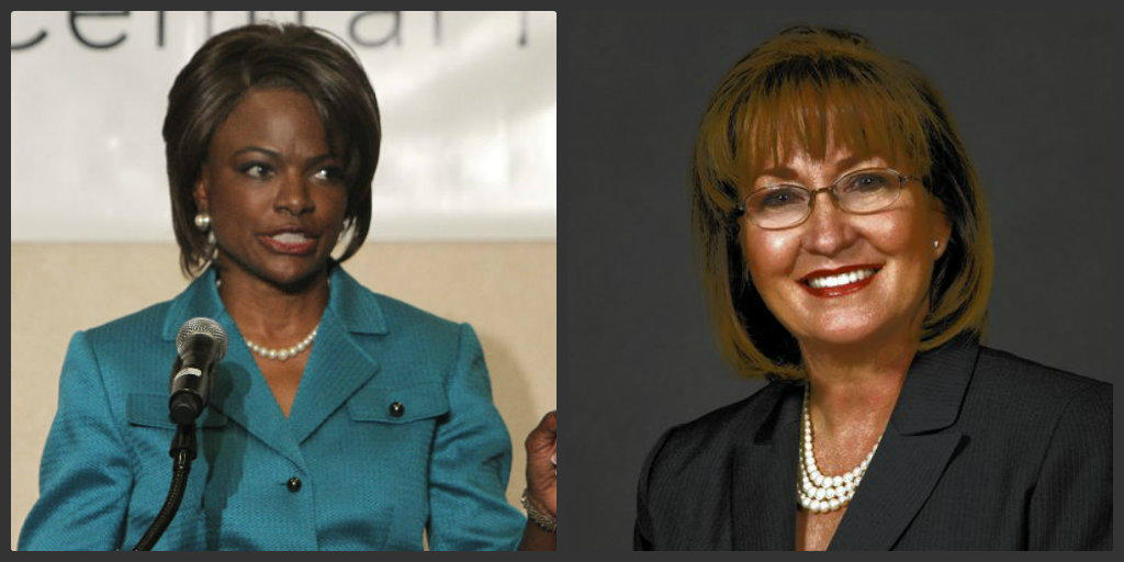 Val Demings, left, and Teresa Jacobs.