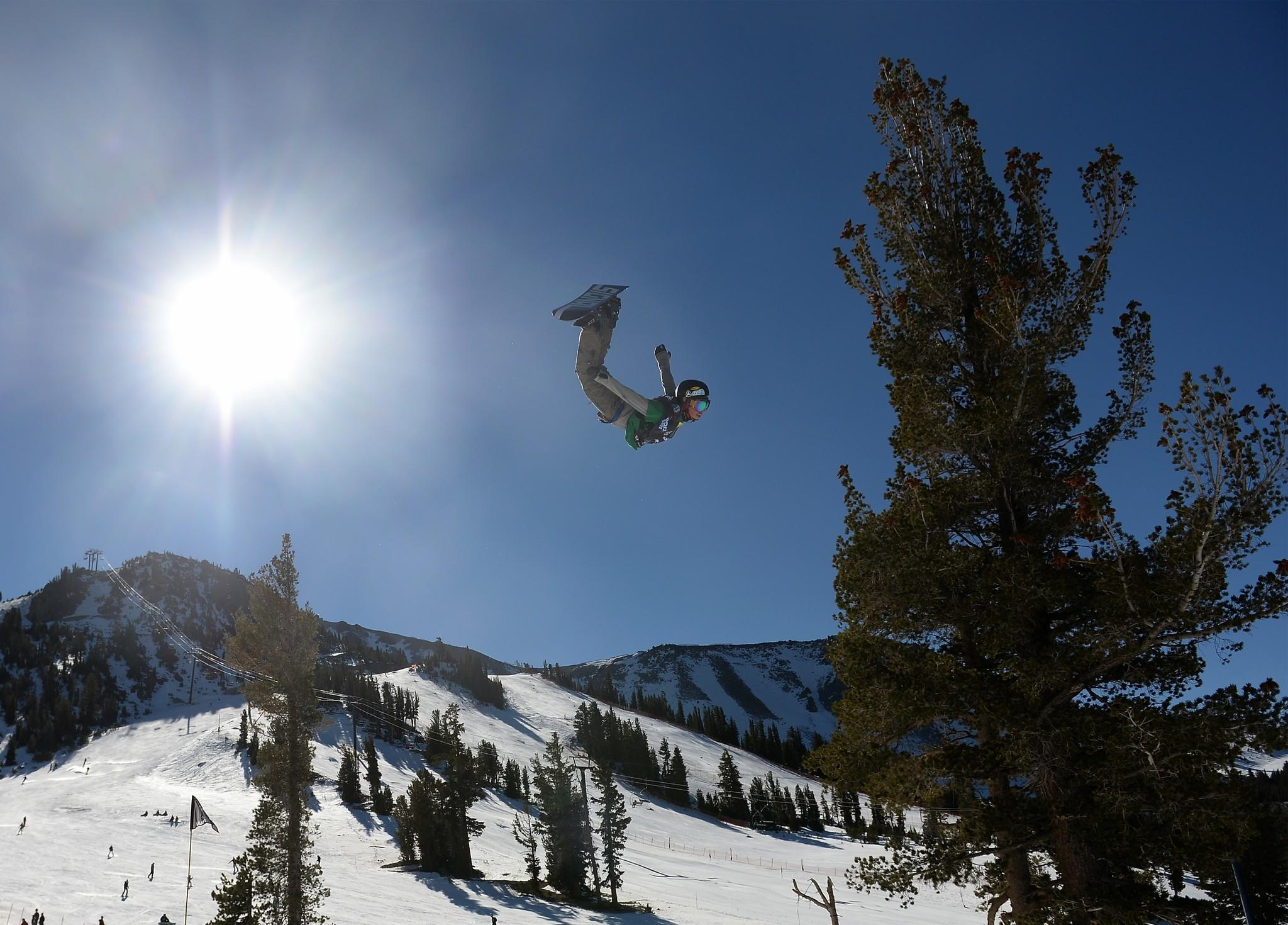 Spencer Link competes during the men's slopestyle Final U.S. Olympic Qualification #5 at the 2014 Sprint U.S. Snowboarding Grand Prix at Mammoth Mountain Resort.