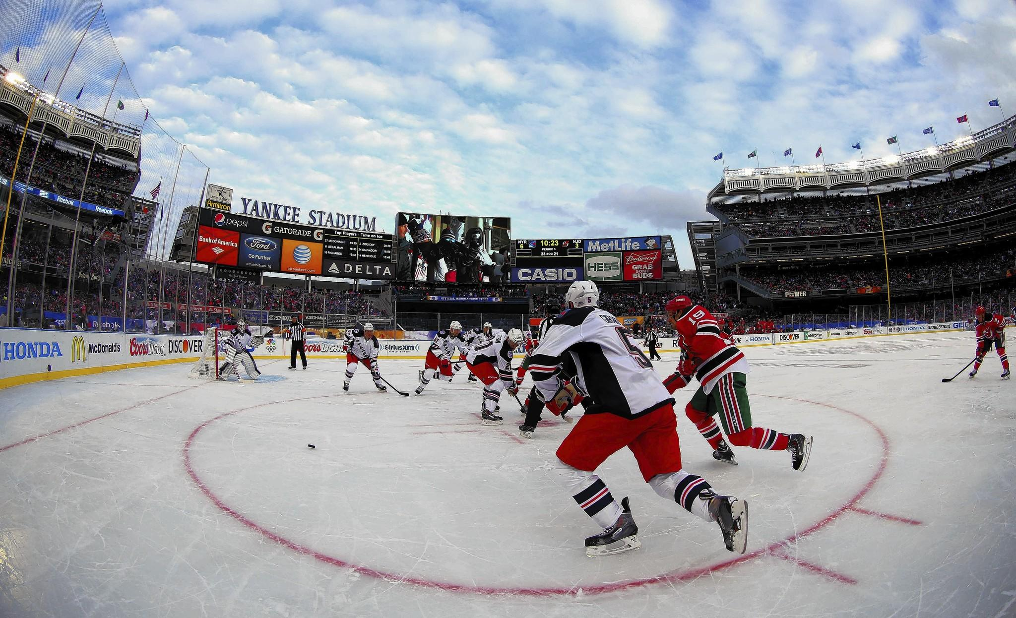 The New York Rangers and New Jersey Devils play at Yankee Stadium on Sunday.