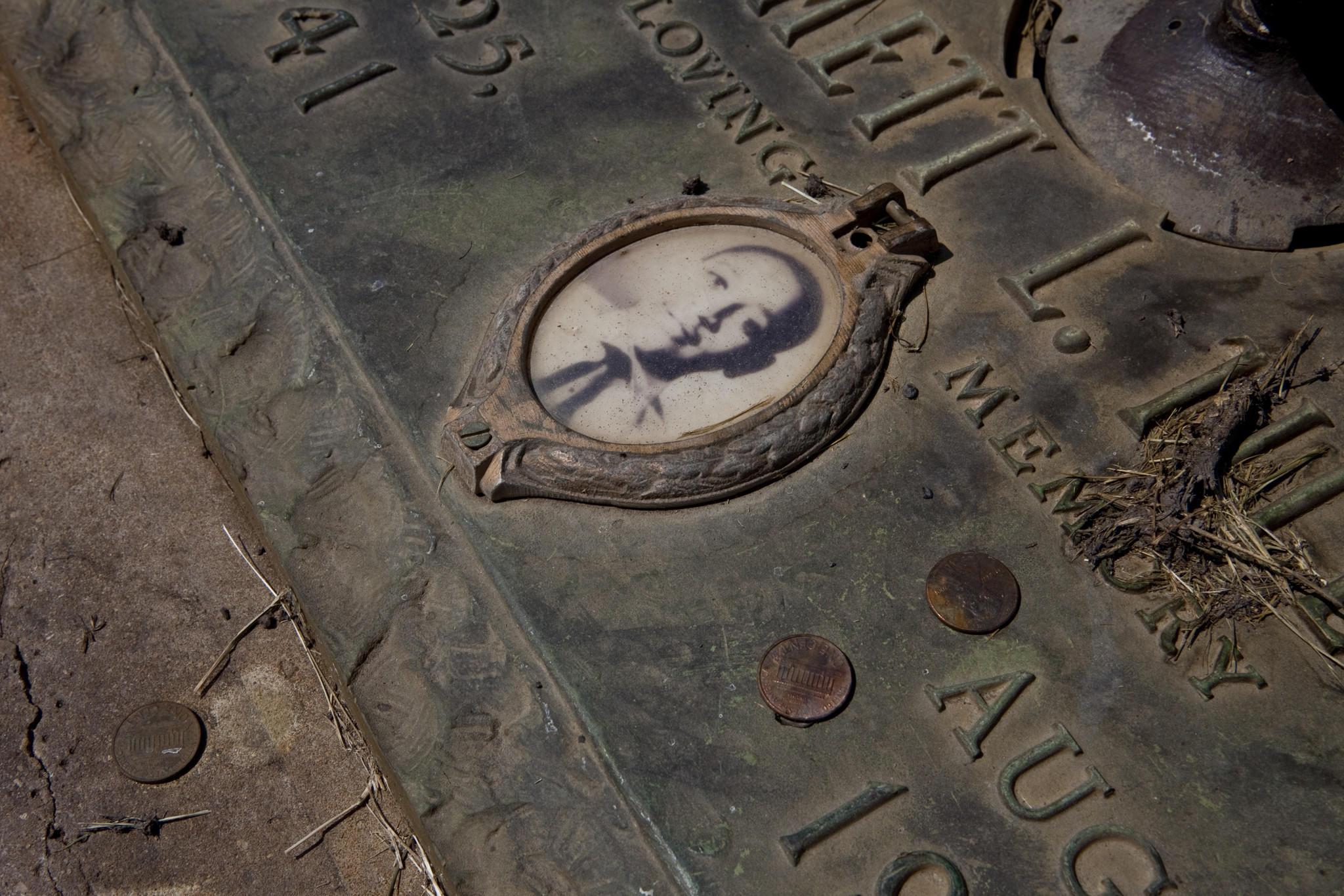 A grave of Emmett Till at the Burr Oak cemetery in Alsip.
