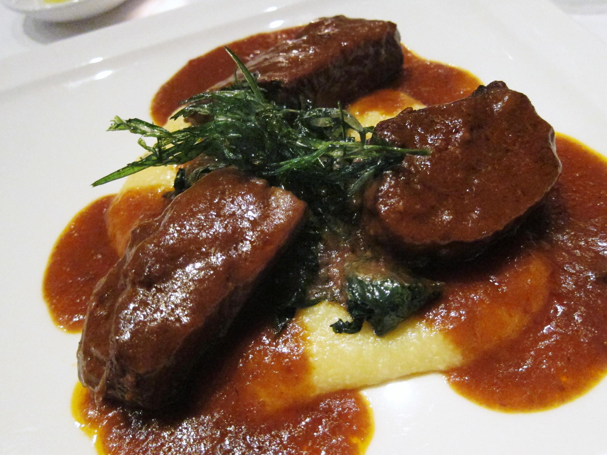 Short ribs with organic polenta and swiss chard, at Coco Pazzo.