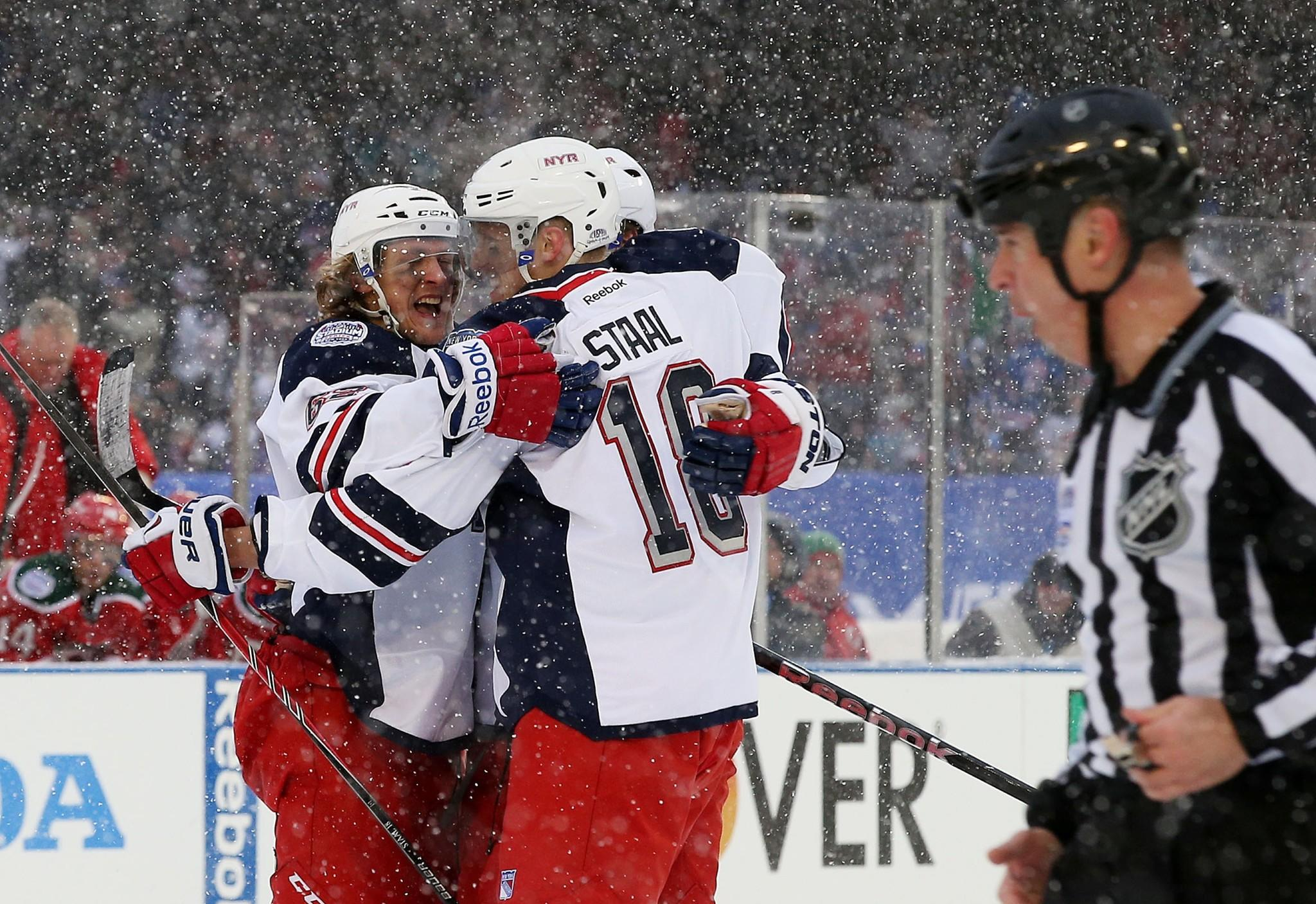 The Rangers' Carl Hagelin celebrates his second period goal against the Devils.