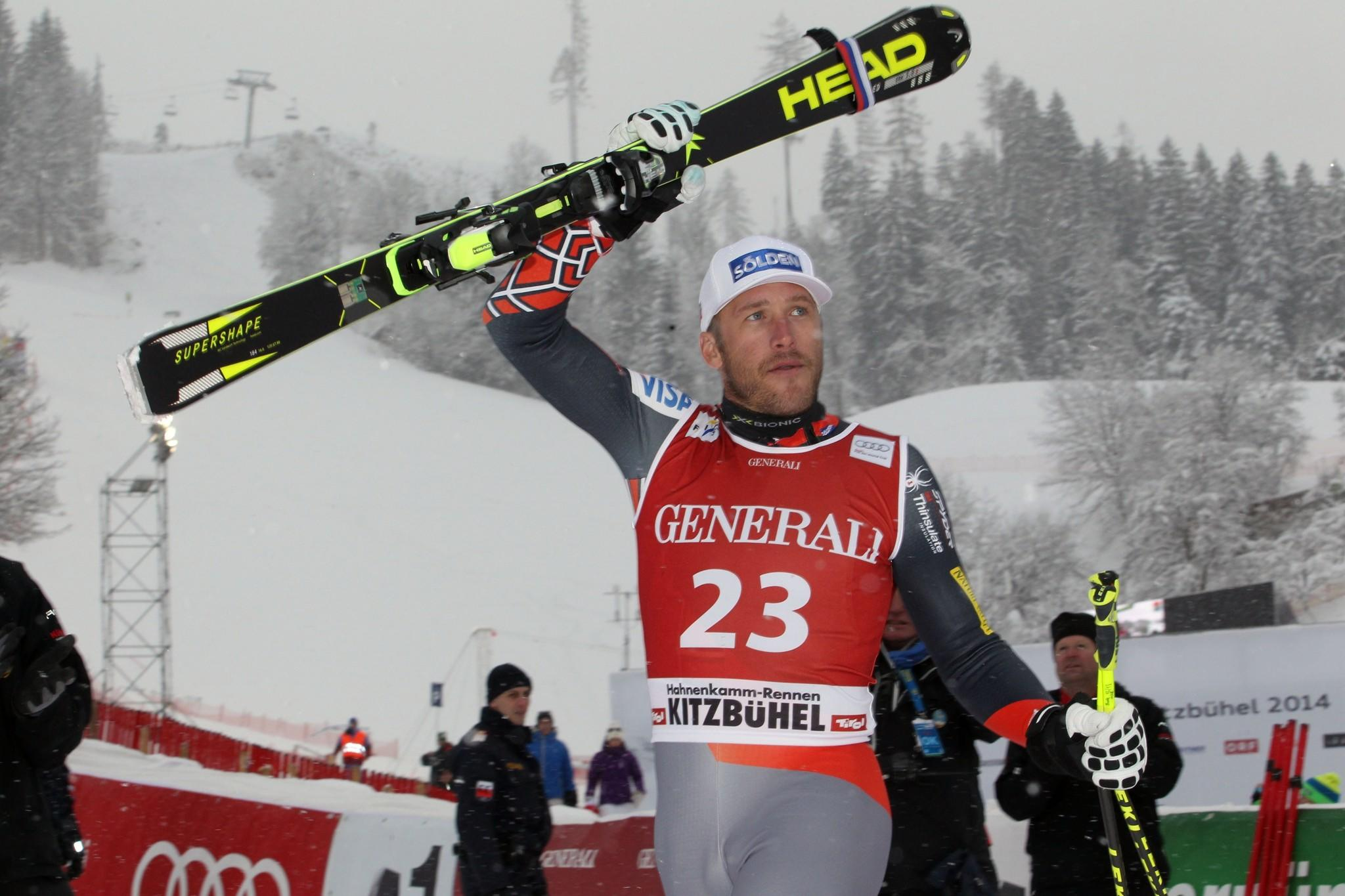 Bode Miller of the USA takes 2nd place during the Audi FIS Alpine Ski World Cup Men's Super-G on January 26, 2014 in Kitzbuehel, Austria.