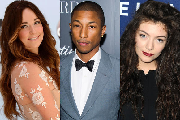 Kacey Musgraves, left, Pharrell Williams and Lorde take home trophies at the 56th Grammy Awards. Click through to see the top winners from the Jan. 26 ceremony.